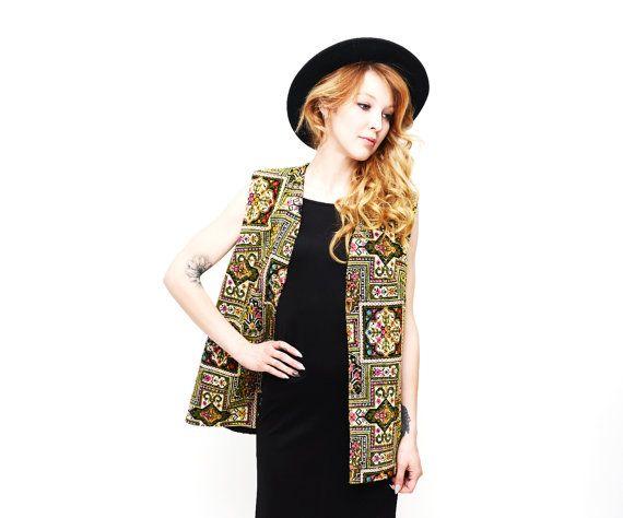 Boho Vintage 70s Tapestry Embroidered Carpet Vest by TheWanderly