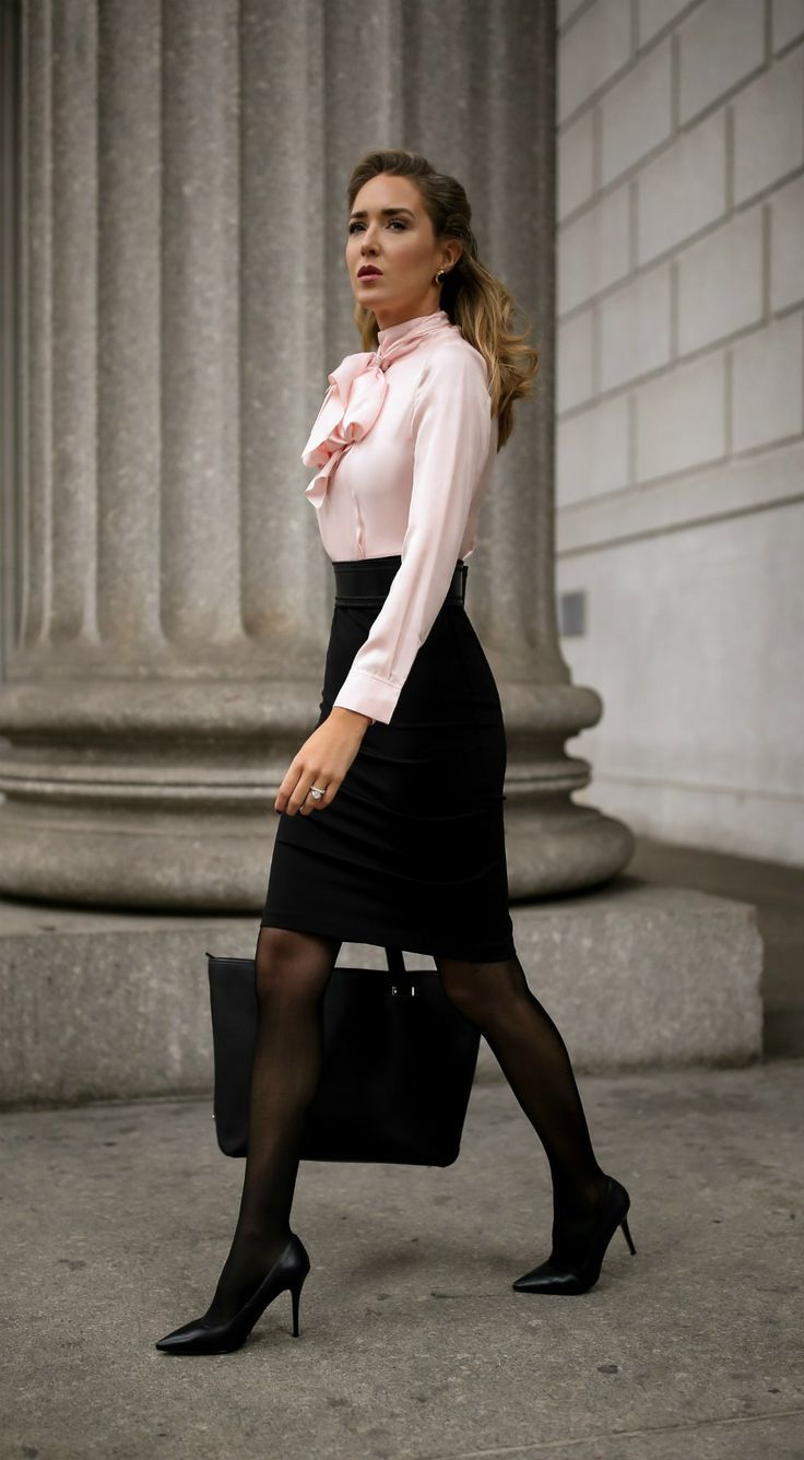 What To Wear To An Interview // Pink and black tie-neck ...