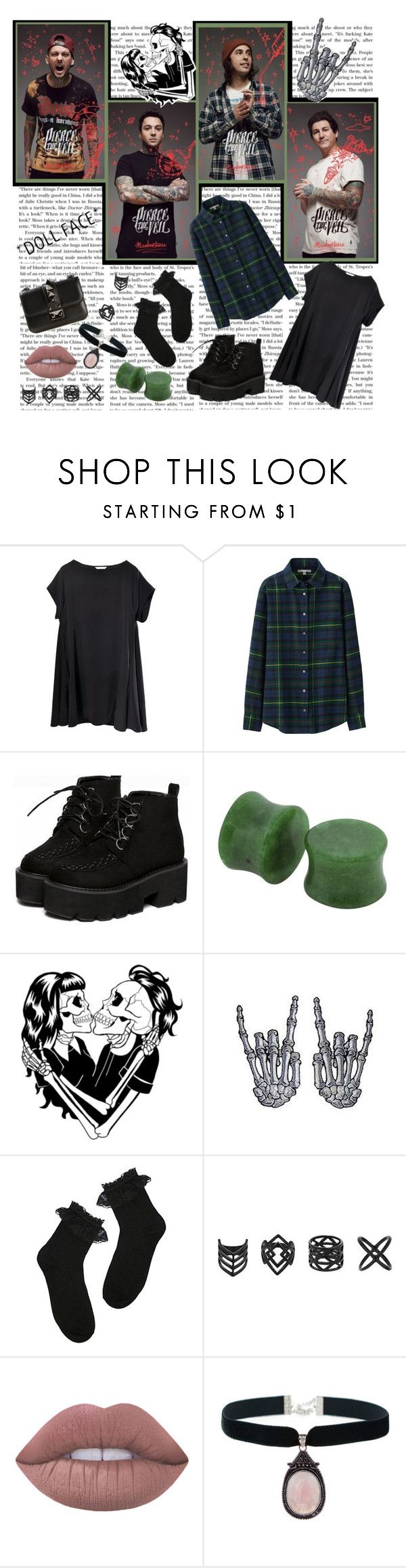 """""""I'm a chemical kid, you're a mechanical bride. // Set #235"""" by sammisolace ❤ liked on Polyvore featuring Uniqlo, Deandri, Topshop, Lime Crime, Rock 'N Rose and Valentino"""