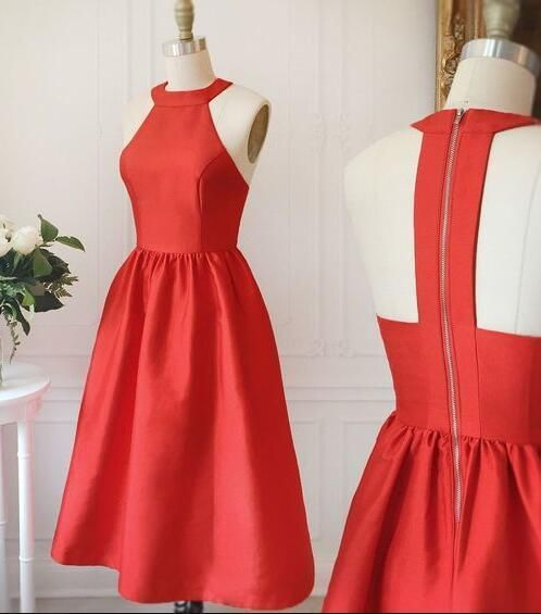 A-line homecoming dress, high neck homecoming dress,red homecoming dress, backless homecoming dresses by prom dresses, $122.10 USD