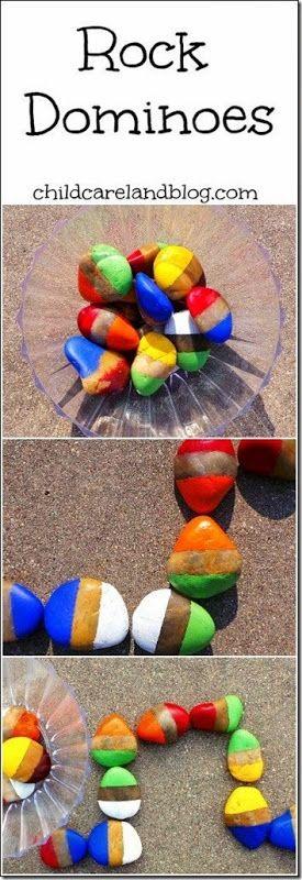 Rock Dominoes are a great nature inspired kids activity #kidsactivities #nature #preschool
