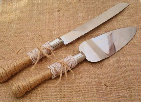 Rustic Wedding Cake Knife and Server Set Jute by JewellDrive, $26.50