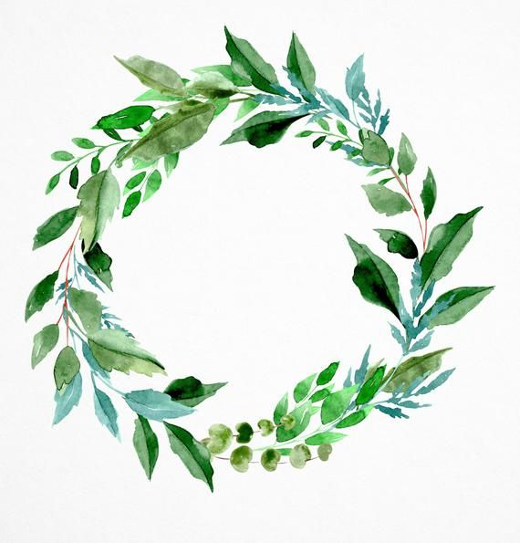 Foliage Watercolor Clipart Watercolor Clipart Greenery Wreath