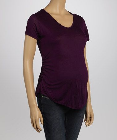 Loving this Purple Maternity Short-Sleeve Top on #zulily! #zulilyfinds