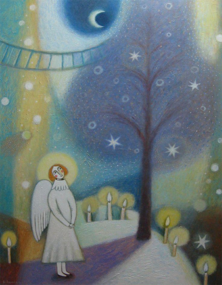 Рождественский вечер 150х110 холст-акрил 2012