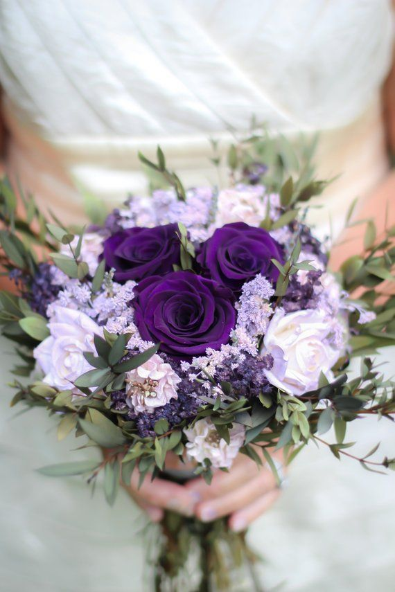 Beautiful Purple And Plum Bridal Bouquet In 2020 Purple Wedding Flowers Bouquet Purple Wedding Bouquets Purple Wedding Flowers