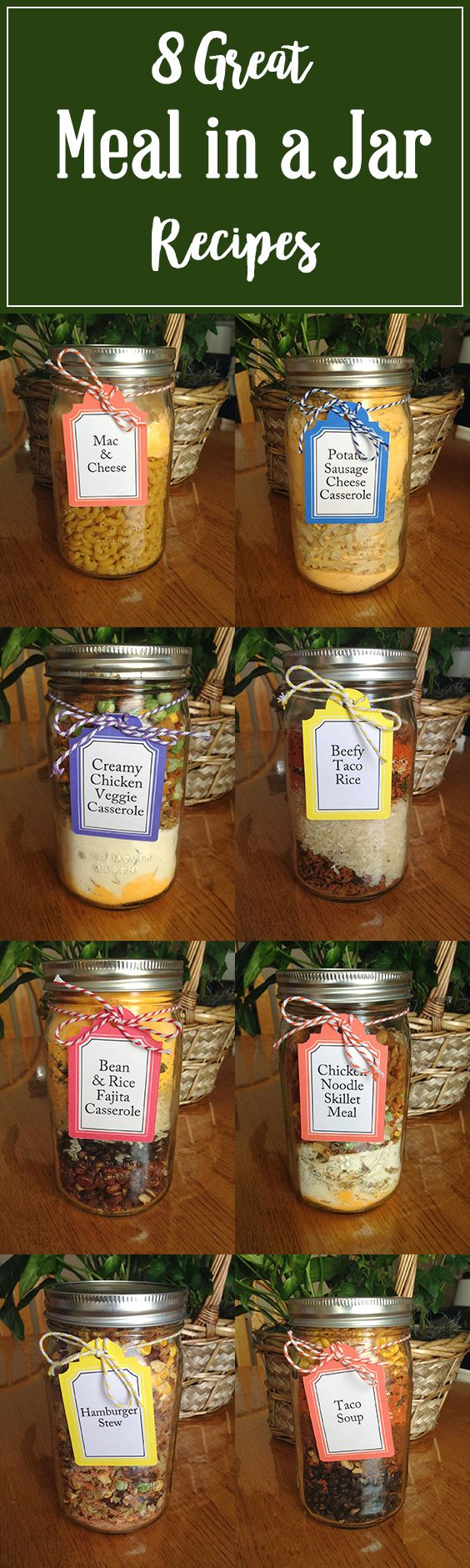 8 Great Meal in a Jar Recipes | These are such a great option for your food storage, emergency preparedness or even just having on hand for a quick dinner option! For best results, I like to use a FoodSaver to vacuum seal my jars, but you can use oxygen absorbers if you prefer. Click on the pin for these and other great recipes! #mealsinajar #foodstorage #jarmeals