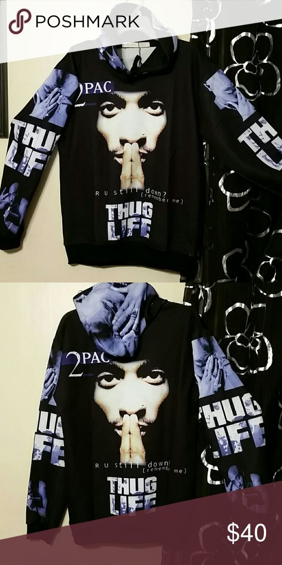 "2Pac Hoodie BNWT Size Lg- Measures  Length 28"" Width 22""  2Pac Thug Life Hoodie Soft Polyester blend  Can be Unisex - See Med listing also Shirts Sweatshirts & Hoodies"
