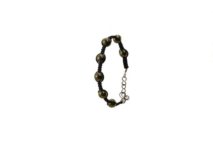 Ανδρικό πλεκτό βραχιόλι με χρυσοπυρήτη - Macrame bracelet for men with goldpurite
