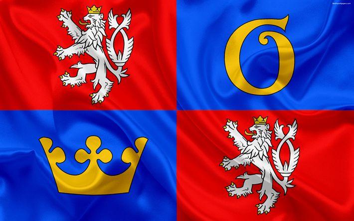 Download wallpapers Flag of Hradec Kralove Region, silk flag, 4k, official symbols, flags of administrative units, Czech Republic, Hradec Kralove Region