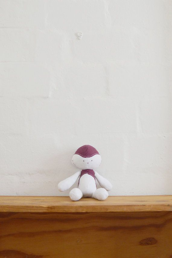 Floppie Lamb with cotton tail. Handmade stuffed doll for sale on Etsy || by Vir Lief