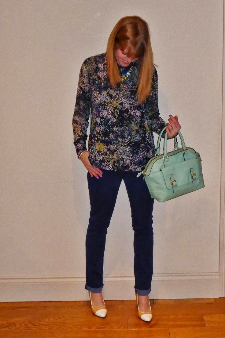 NYDJ cobalt jeans, Yull shoes. House of Fraser top