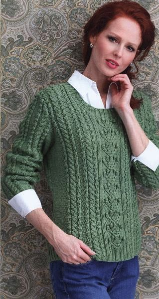 """Free knitting pattern """"Knitted pullover in aran style"""" Nature Trial Cabled Pullover is a crewneck pullover by designer Kathy Zimmerman. You can wear this distinctive garment year-round as it is worked in Super 10 Cotton from Westminster Fibers, a 100% mercerized cotton that provedes comfort and softness. See also knitted cardigan for girls If …"""