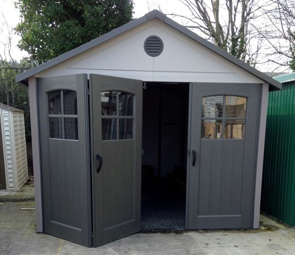 Lifetime 11ft x 11ft HDPE Garage with Tri-Fold Opening Doors