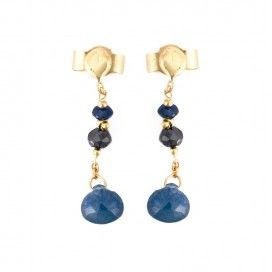 Black Diamond and Blue Sapphire Drop Stud Earrings