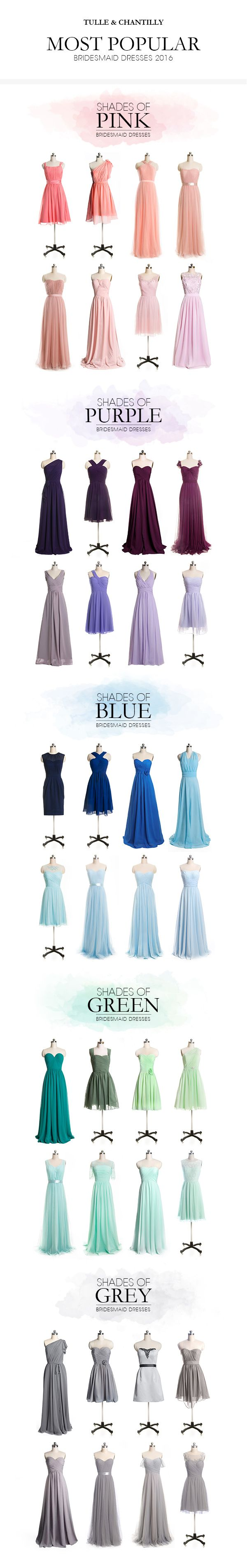 "Tulle & Chantilly hottest bridesmaid dresses 2016 in shades of pink, purple, blue, green and grey---USE CODE ""pin15"" TO GET 15% OFF"