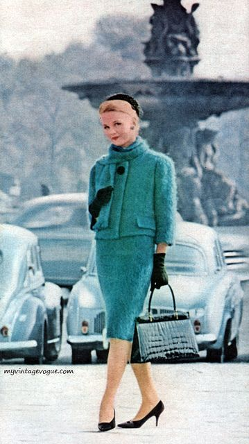 Vogue 1963 Blue Green Turquoise Suit Outfit Jacket Skirt