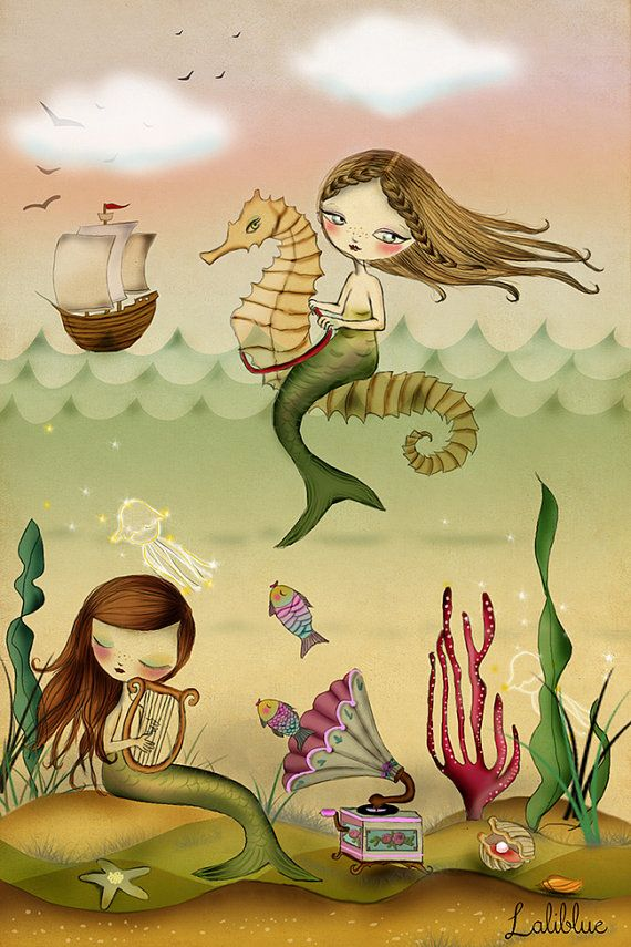 Digital Illustration. Sirens. by LaliblueShop on Etsy