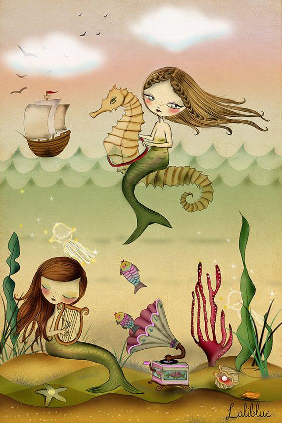 Illustrazione digitale. Sirene di stampa. di LaliblueShop su Etsy