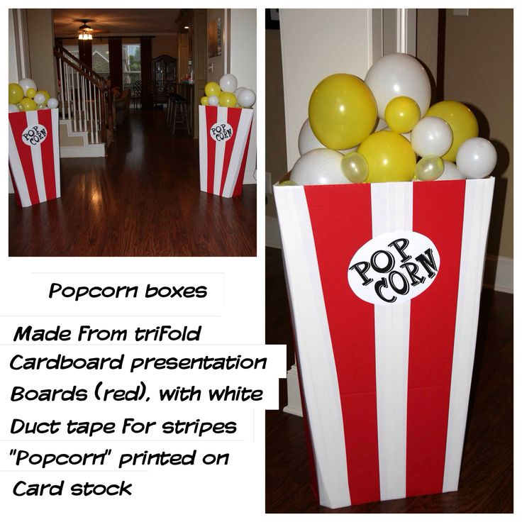 """Movie party decorations - fold the board """"inside-out"""", the presentation board is scored on the brown side to fold at an angle.  Used double sided tape to stick balloons together"""