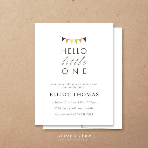 hello little one + pennant // baby meet and greet // baby shower invitation set // baby announcement // sip n' see // gender neutral
