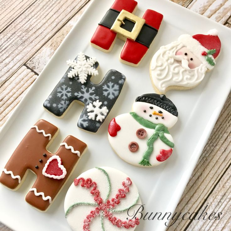 Ho Ho Ho decorated cookies for your Christmas dessert table. Made by Bunnycakes (christmas sugar cookie recipe icing)