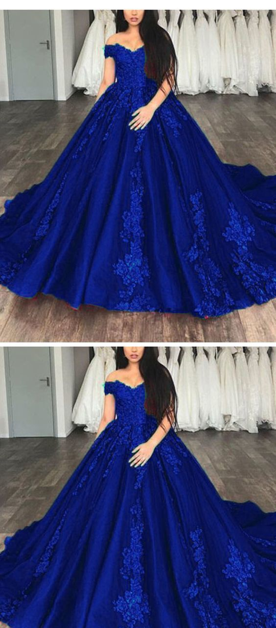 ea1c04b3924cff Royal Blue Ball gown Lace Wedding Dresses Prom Reception Party Gown by  ainiprom, $180.62 USD