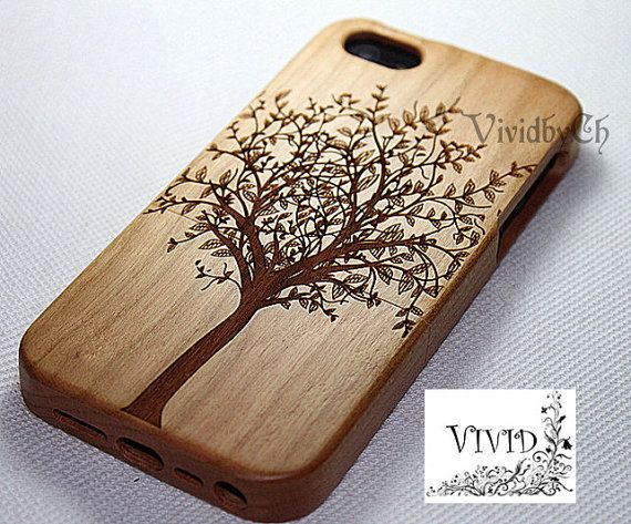 Natural wood iPhone 5 case iphone 5s Tree Art Gift