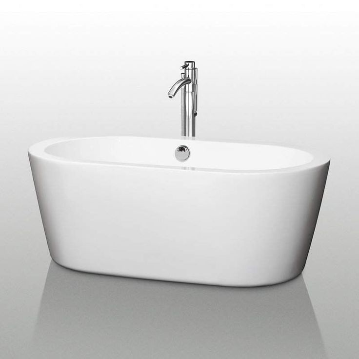 Attrayant Buy The Wyndham Collection White Direct. Shop For The Wyndham Collection  White Mermaid Free Standing Acrylic Soaking Tub With Rear Drain, Pop Up  Drain ...