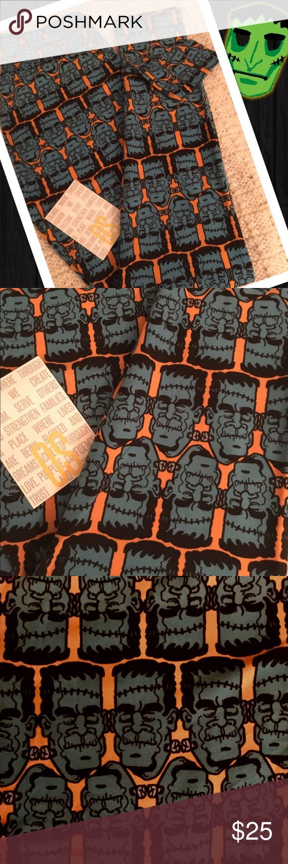 👹Frankenstein! LulaRoe One Size Leggings!👹 👹LulaRoe One Size Leggings ~ Frankenstein's Monster! ~ This pair has an orange base full of teal Frankenstein Monsters made just for you ~ Won't you be his butter-bottomed bride?👹 *Cross posted to another site                                                                          All leggings are bought new from consultants and arrive with and without tags. Each pair is inspected and never, ever worn!:-) LuLaRoe Pants Leggings