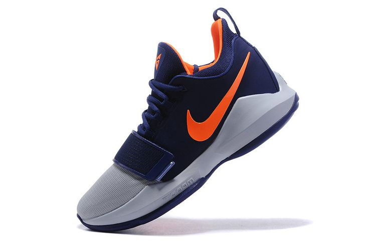 2017-2018 Newest And Cheapest Nike PG 1 One Paul George Sneakers OKC Thunder Navy Total Orange
