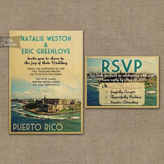 Puerto Rico Wedding Invitation  Printable by NiftyPrintables