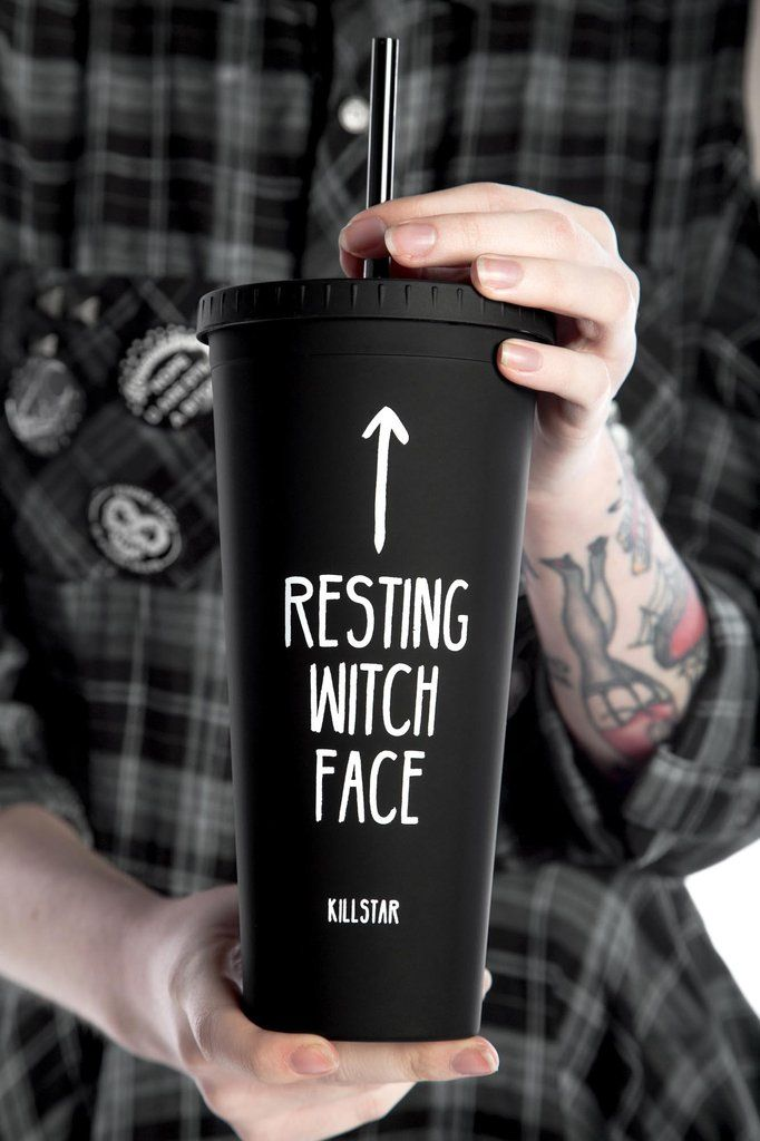 RESTING WITCH FACE. Make a statement. - Hard Plastic.- 18oz Capacity.- Screw Lid.- Statement Print. Pour yer fav drinks to take on-the-go [ice coffees, herbal b