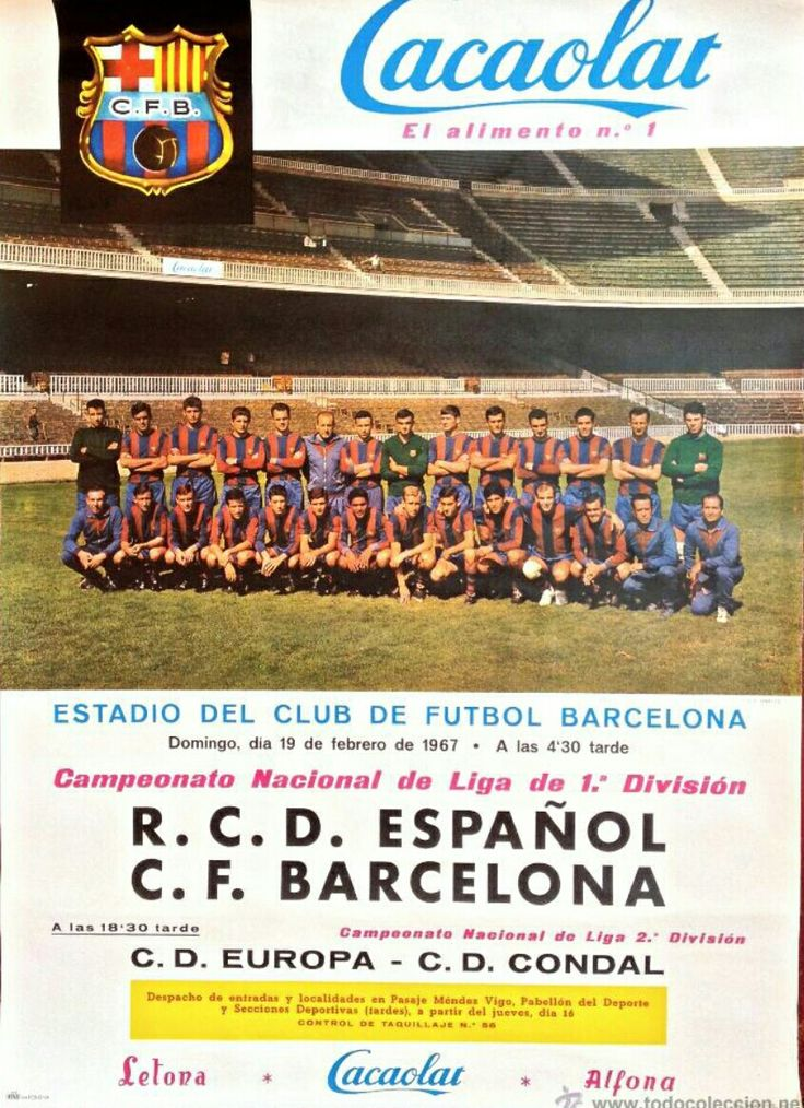 1967 poster advertising the upcoming Barcelona v Espanyol match in La Liga.