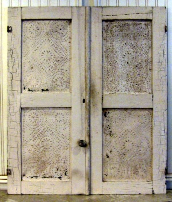 Antique Pair Of Salvaged Punched Tin Pie Safe Doors.
