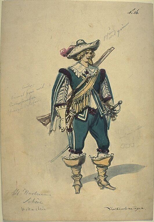 Kostümentwurf für die Figur eines holkischen Jägers aus 'Wallenstein' von Friedrich von Schiller | Franz Gaul | Bildindex der Kunst & Architektur