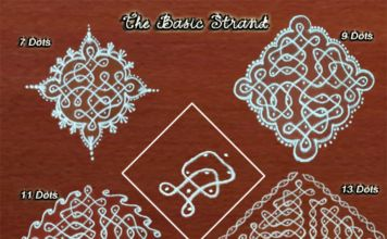 7 dots, 9 Dots, 11 Dots, 13 Dots kolams, all have one in common, they share the same basic strand.