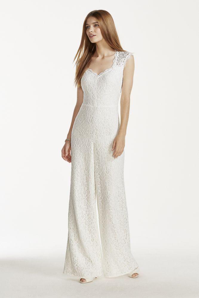 Wedding Dress V-neck Lace Jumpsuit - Ivory, 12