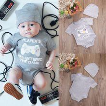 Bebê recém-nascido menino meninas clothing bodysuit de manga curta tops de algodão chapéu 2 pcs roupas macacão outfits alishoppbrasil