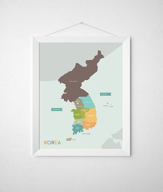 Korea Map Poster for Nursery Wall Art   8.5 x 11  by KamagiStudio, $18.00