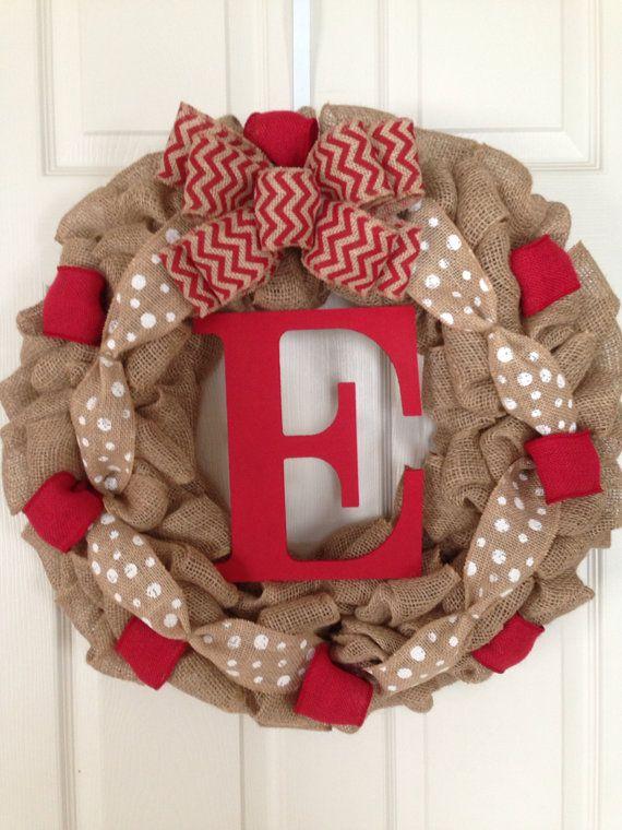 FALL BURLAP WREATH with Initial, Summer Wreath, Spring Wreath, Wedding Gift, Burlap Wreath , Front Door Wreath, Monogram Burlap Wreath