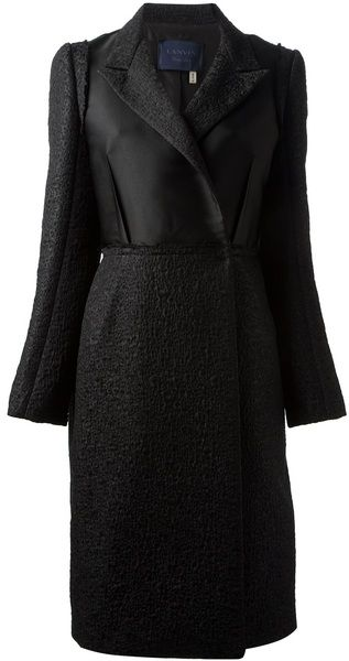 LANVIN PARIS Textured Fitted Coat - Lyst