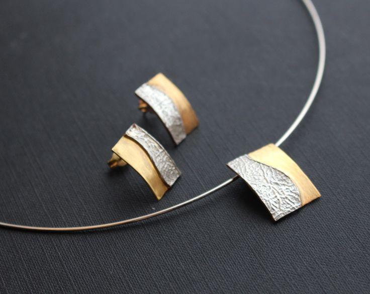 stříbro, zlacené stříbro, náušnice a náhrdelník