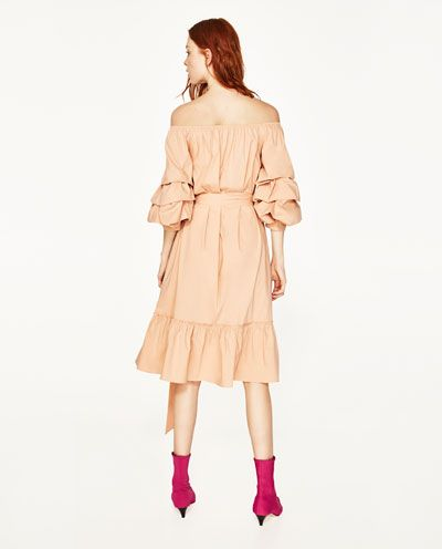 Image 6 of OFF-THE-SHOULDER POPLIN DRESS from Zara