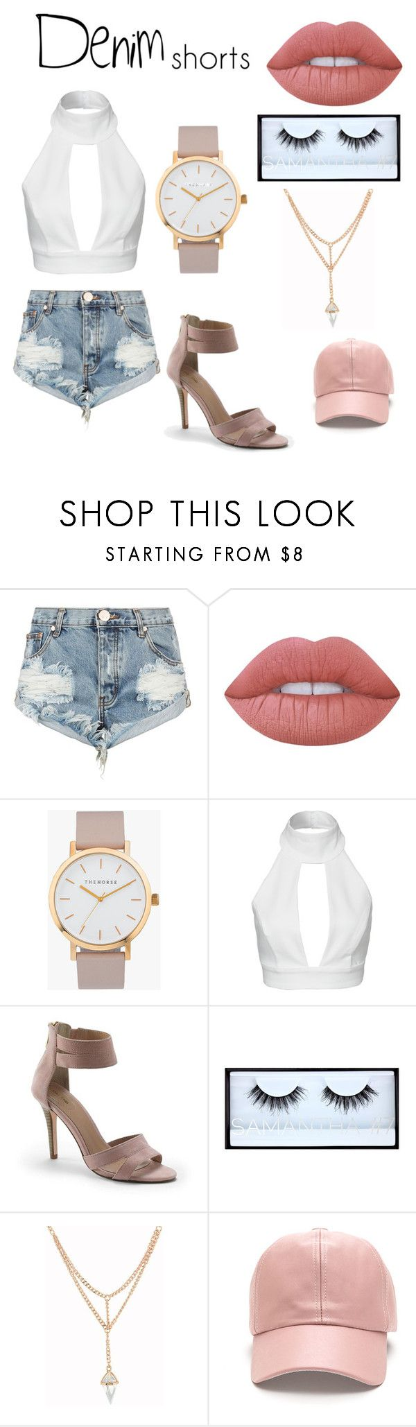 """Denim Shorts Outfit"" by cagbsjiom ❤ liked on Polyvore featuring OneTeaspoon, Lime Crime, The Horse, AQ/AQ, Lands' End, Huda Beauty, jeanshorts, denimshorts and cutoffs"