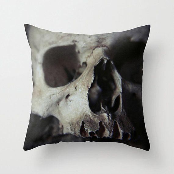 Skull pillow skull cushion bones skull decor by SophieMakesFabrics