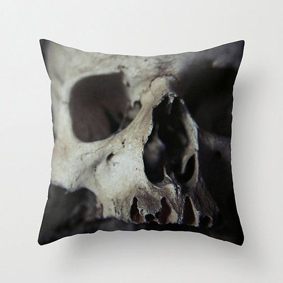 Skull pillow, skull cushion, bones, skull decor, goth decor, dark decor, throw pillow, gothic decor, monochrome decor, scatter cushion