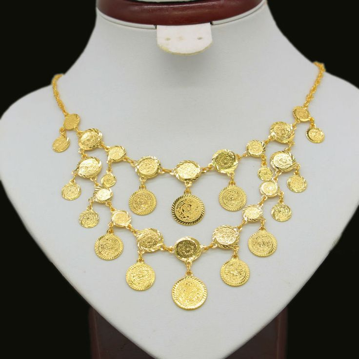 New Gold Coin Necklace for Women Men Gold Plated Coin Big Necklaces Africa/Ethiopian/Arab/Middle East Jewelry