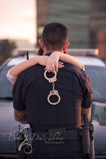 Police theme engagement photos by Tina DaSilva Photography