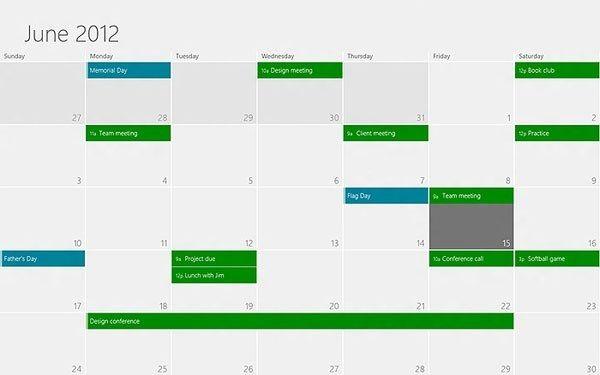 Microsoft apresenta o aplicativo Calendário do Windows 8